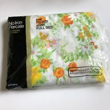 Vintage Jcpenney full fitted new old stock 50/50 percale sheet white floral