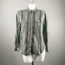 Ralph Lauren Denim Supply Green Plaid Button Down Blouse Size Small 100% Cotton
