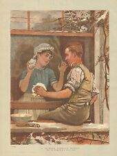 Romance, Married Couple, A Picture Without Words, Vintage 1886 Antique Print