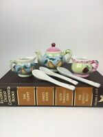 Vtg Miniature Tea Set Teapot with Cups and Spoons Handpainted Fruits Ceramic