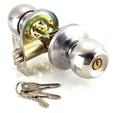 Stainless Steel Round Ball Door Knobs Handle Passage Entrance Lock Entry w/ 3Key