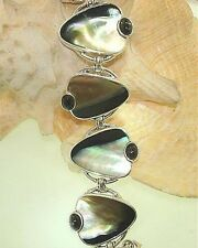 Marta Howell STER Silver BlackLip Mother of Pearl Diopside Gemstone Bracelet #16