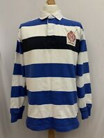 Mens   Tommy Hilfiger Striped Long Sleeve Polo Shirt   Blue & White   Size XL