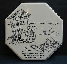Gladding McBean Vintage Hermosa 8-sided Trivet Military Humor