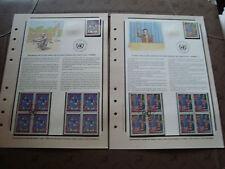 NATIONS UNIS (vienne) timbre - yt n° 36 37 x5 n** x4 obl sur document