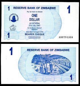 ZIMBABWE 1 DOLLAR 2006, UNC-, P-37, BEARER CHEQUE
