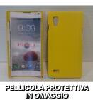 Pellicola + custodia BACK cover RIGIDA GIALLA per LG Optimus L9 P760