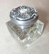 antique 1800's sterling silver cut clear crystal writing pen inkwell ink jar