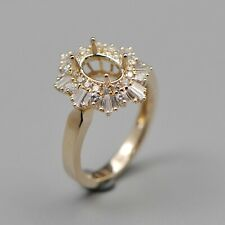 6x8mm Oval Cut Solid 18kt Yellow Gold Semi Mount Natural Diamond Ring