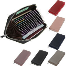 36 Slots Large Real Leather Credit Card Holder Zip-Around Cash Purses Wallets