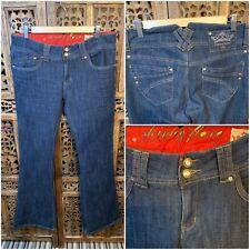 """Dark Denim Skinny Flare Jeans size 12 L: 31 """" Flare : 10 """"  Hipster Hippy Boho"""