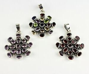 Garnet, Amethyst, Multi Color Pendant Real Gems 925 Silver Round Gift