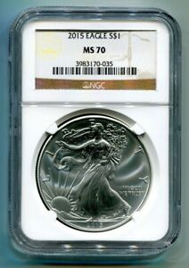 2015 AMERICAN SILVER EAGLE NGC MS70 CLASSIC BROWN LABEL AS SHOWN PREMIUM QUALITY