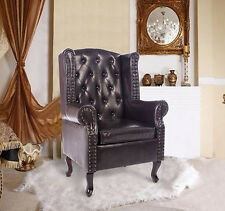 Brown Antique Armchair Leather Wing Chair Vintage Queen Anne High Back Furniture