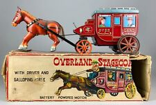 ICHIDA -OVERLAND STAGECOACH- VINTAGE JAPANESE TIN PLATE BATTERY HORSE CART TOY