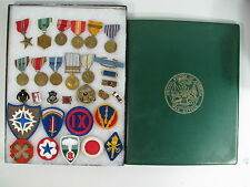WWII Korea Vietnam US Army Named Senker -  Lot Medals Papers Badge Patch Pins
