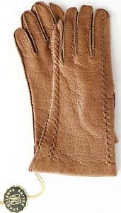 Gloves Leather Women Emperor Finger Gloves Pattern Padded Cupro Cognac S