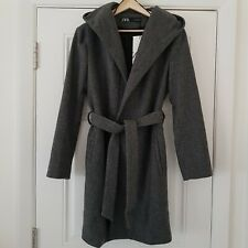 ZARA Grey Belted Wrap Hooded Tie Waist Coat Size Small Jacket New with Tags