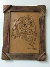 "HAND TOOLED LEATHER ART, OWL ,FRAMED,10""X 8"",HAND CRAFTED DECOR,ART,WALL ART"