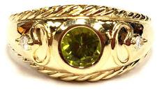 Way Nice 14k Yellow Gold 5.5mm Round Bezel Peridot Diamond Heavy 5.8 Gram Ring