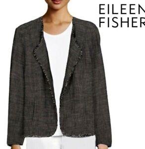 Eileen Fisher Cross-Weave Jacket 1X RAW EDGE Linen Rayon Tweed Blazer fit 2X?