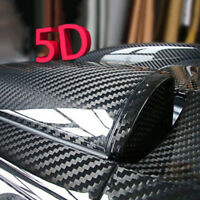 5D Glossy Carbon Fiber Vinyl Wrap Roll Film Sticker Car Bike Home Wall Black