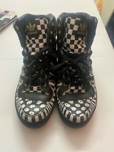Adidas Jeremy scott. High top. Black and white mix checks. Size 8.