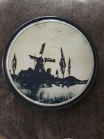 Vintage Canco Tin,working wind-mill scene. 8 1/2 inch