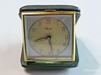 Vtg. Schuler 7 Jewels Travel Alarm Clock Green Leather Hard Case Germany French