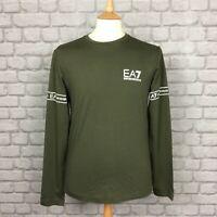 EA7 EMPORIO ARMANI MENS UK S KHAKI LONG SLEEVE TAPE T-SHIRT TEE DESIGNER CS