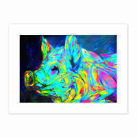Abstract Electric pig Canvas Wall Art Print