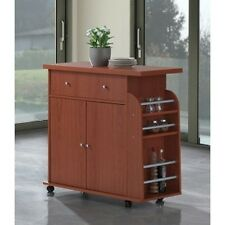 Hodedah Import Kitchen Island W Spice Rack Towel Rack Cherry Hik65 Cherry