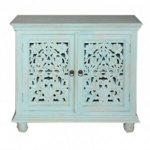 MADE TO ORDER Hand Carved Indian Style Solid Wood Blue Sideboard Cabinet Floral