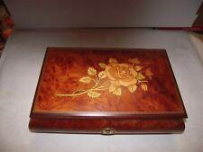 Romance Music Jewelry Box, Rose Inlay, has Key made in Italy, Swiss Reug music