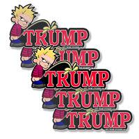 Anti - Trump Calvin Peeing Decals Impeach Trump - 5 pack bumper stickers 5in