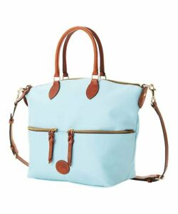 NWT DOONEY & BOURKE LARGE POCKET SATCHEL CROSSBODY LEATHER TRIM LIGHT BLUE
