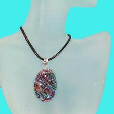 "Handmade 925 Sterling Silver Pendant 1 1/4"" Abalone Paua Shell"