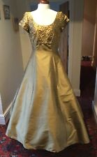 VINTAGE 1980's GOLD SILK EVENING/BRIDESMAID DRESS BY MONSOON TWILIGHT