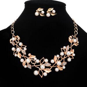 Fashion Crystal Chain Pendant Women Chunky Choker Bib Earring Pearl Necklace Set