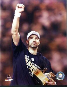 KURT WARNER Celebrates 2001 NFC CHAMPIONSHIP George Halas Trophy 8X10 PHOTO