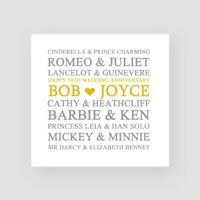 Personalised Handmade 50th Golden Wedding Anniversary Card - For Them, Couples