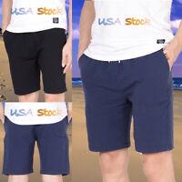Men's Cotton Casual Classic Shorts Quick Dry Surf Swimwear Summer Beach Pants US