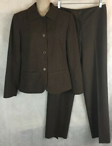 Chico's Size 0 Woman Brown Pant Suit Polyester Rayon Spandex Full Button Jacket