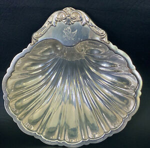 vintage silver-plated shell shaped dish bowl hallmarked footed
