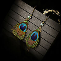 Chic Boho Peacock Feather Tassel Dangle Long Chain Earrings Hook Leaf Wedding