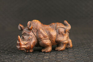 china boxwood 100% hand carving rhinoceros lucky statue figure collection