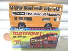 "Lesney Matchbox MB17B 1972 ""THE LONDONER"" ORANGE JACOB'S BISCUIT MAKERS Bus NB"