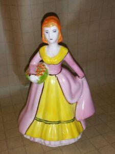 Art Deco Pauline Tomkinson Painted Porcelain Figurine Lady in Period Costume~VGC
