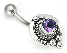 """14g 7/16"""" Silver Hat Indonesian Wholesale Belly Rings"""