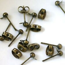 """10 Tiges Clous Boucles Oreilles avec Anneau """"Bronze""""   3/13 mm environ"""